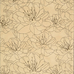 """Nourison - Palisades Wildflowers Floral Bisque 0 8' x 10'6"""" Kathy Ireland Rug by RugLots - On over-sized floral print scales the summits of sophistication when drawn with simple clean lines, and presented in a strikingly contemporary two-toned color palette. Hand-tufted and constructed with a plush cut and loop pile for a wonderful tone and texture, this charming rug is the embodiment of relaxed refinement.   Our Wildflowers rug lives in our Architectual Style Guide."""