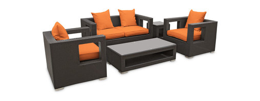 LexMod - Lunar Outdoor Wicker Patio 5-Piece Sofa Set in Espresso with Orange Cushions - Elicit pure perceptions with this brightly illuminated outdoor living set. Inherit abundant light and energy as even the moon's halo shines a radiant glow on fertile orange all-weather cushions and espresso rattan base. Rejuvenating discussions await along the path of illuminated space and emergent explorations.