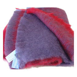 Arctic Mohair Designer Check Blanket from New Zealand, Berry Mohair - These very special Mohair blankets are made up of large blocks of color.