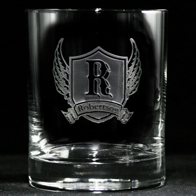 Personalized Whiskey, Scotch, Bourbon Glasses Gifts - Personalized custom whiskey, scotch and bourbon glasses are the perfect gift for bridal shower, engagement, wedding, birthday and for the man or woman who has everything. Real estate agents and interior designers often give our personalized barware to special clients as housewarming or thank you gifts. Not engraved, but deeply sand carved, each of our glasses is hand crafted. The background is carved away, leaving the monogram and design raised from the glass in a 3D manner. Simply exquisite. Crystal Imagery
