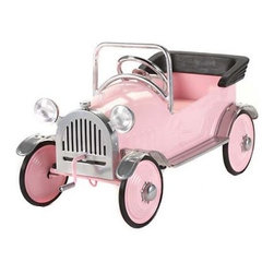 Airflow Collectibles Pink Princess Pedal Car - This pretty pink pedal car has a nostalgic design that looks fantastic as it rolls down the sidewalk. The faux crank starter and headlights appeal to children of all ages. Your little darling will be cruising up and down the block in style as the wind blows through her hair. This pedal car has high traction tires that grip the surface and the all-metal body ensures your child a safe ride. The pretty pink color of this pedal car is accented with shiny chrome. Dimensions: 33L x 14W x 19H inches. Recommended for ages 3 to 6 years.