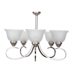 Yosemite Home Decor - Yosemite Home Decor 93455-5SN Chandelier - Satin Nickel - Add a modern stylish touch to your home with Yosemite Home Decor's Ribbon Falls Collection. This piece puts lighting exactly where you need it. Simple and elegant, this is an ideal lighting fixture that adds a perfect finishing touch to your living room, dining room, or bedroom. This beautiful chandelier offers plenty of light to brighten your room. Yosemite Home Decor specializes in elegant and artistic home decor products, this lighting fixture exemplifies our approach. It's UL-rated, safe and easy to install, and makes an instant difference with quality materials and smart, subtle design. Give your home the lighting fixture it deserves. Requires five medium base 100-watt incandescent bulbs (not included) Steel with glass construction in satin nickel finish