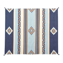 Navajo Design Area Rug, Flat Weave 8'X10' Hand Woven 100% Wool Rug SH11526 - Soumaks & Kilims are prominent Flat Woven Rugs.  Flat Woven Rugs are made by weaving wool onto a foundation of cotton warps on the loom.  The unique trait about these thin rugs is that they're reversible.  Pillows and Blankets can be made from Soumas & Kilims.
