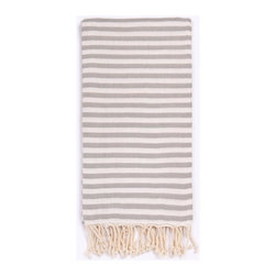 """Beach Candy Towel, Silver Kiss - Our best seller! As seen in People Magazine in May 2014 and on the cover of the June/July 2013 issue of Garden & Gun. Official Finalist of the """"Best New Product Award"""" at the New York International Gift Fair!The preferred choice of the traveler with no washer, the Beach Candy Basic is a favorite worldwide. The striped beach towel is Turkish-T's """"grown-up, take everywhere, security blanket"""". Made with 100% Turkish cotton, the Beach Candy is thin enough to be worn as a scarf, thick enough to be an absorbent beach towel, long enough to be worn as a chic sarong, and lightweight enough to fit into the smallest of beach bags. This striped Turkish towel is incredibly soft to the touch and quick to dry. Machine wash on cool. Tumble dry on low heat. Colors do not bleed or fade with wash."""