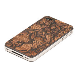 Lazerwood - Lace iPhone Cover - Low profile, real wood veneer cover for iPhone. Peel-and-stick backing makes the cover easy to apply and remove without damage to the phone. Designed and made in Seattle, WA.