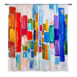 """DiaNoche Designs - Window Curtains Unlined - Lam Fuk Tim Color Blocks - DiaNoche Designs works with artists from around the world to print their stunning works to many unique home decor items.  Purchasing window curtains just got easier and better! Create a designer look to any of your living spaces with our decorative and unique """"Unlined Window Curtains."""" Perfect for the living room, dining room or bedroom, these artistic curtains are an easy and inexpensive way to add color and style when decorating your home.  The art is printed to a polyester fabric that softly filters outside light and creates a privacy barrier.  Watch the art brighten in the sunlight!  Each package includes two easy-to-hang, 3 inch diameter pole-pocket curtain panels.  The width listed is the total measurement of the two panels.  Curtain rod sold separately. Easy care, machine wash cold, tumble dry low, iron low if needed.  Printed in the USA."""