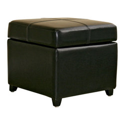 Wholesale Interiors - Black Full Leather Storage Cube Ottoman - This square storage ottoman is a versatile piece useful in any room of your home. This elegant ottoman provides styles and room to keep items out of sight yet close at hand to meet both your decorative and storage needs. Interior frame built to last with sturdy construction consisting of kiln dried hardwood frame, with high density foam padding and hinged lid for easy opening and closing. Durable polyurethane coated leather upholstery for longer lasting use and stain resists for easy clean up. Leg constructed with solid rubber wood with veneer finish completes with elegant smooth, clean lines design. The perfect combination of quality craftsmanship with simple and sophisticated designs, that will instantly enhance any room decor.