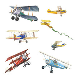 York Wallcoverings - Vintage Planes Wall Stickers 22pc Airplane Decals - FEATURES: