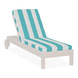 Single Chaise Cushion, Awning Stripe Sunbrella, Aruba - Stripes define Beverly Hills style. These chaise lounge chairs are the ideal choice for beside the pool or in the garden.