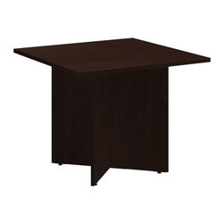 """Bush - Bush 300 Series 36"""" Square Conference Table in Mocha Cherry - Bush - Conference Tables - 99TB3636MR - Elegant and classic the BBF 36"""" Square Conference Table takes collaborative sophistication to a new level. With eye-catching appeal and timeless styling the compact footprint is perfect for conference rooms private offices or open spaces. Offers executive-level luxury at a modest cost. Finished underside prevents snagged clothing. Wide square top allows teams to congregate but is still small enough for most offices. Wood leg base with stable cross-member support system includes a leveling guide for uneven floors. Continuous edge banding protects against nicks and dings from collisions. Durable Dia mond Coat finish resists stains and scratches. Complete with all connectors and mounting plates for installation. Includes BBF limited lifetime warranty."""
