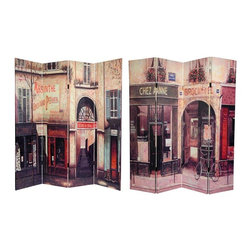 Oriental Furniture - 6 ft. Tall Double Sided French Cafe Canvas Room Divider - Turn of the century, quaint French store fronts adorn each side of this screen. Large vintage images, one side a purveyor of Absinthe and spirits, the other a bakery give this room divider an air of subtle sophistication. With its dark, rich colors and attractive imagery this screen will make a beautiful decorative accent for any room: living room, bedroom, dining or kitchen. Each side has a different image as shown.