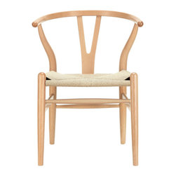 Wishbone Y Chair - Wishbone Y chair features traditional wood and is paired with a modern design, resulting in a unique piece for your home. The frame consists of solid wood with a natural finish, a comfortably-curved backrest, and sturdy natural hemp seat. This item will arrive fully assembled.. This is a quality reproduction of the Hans Wegner Wishbone Chair, which is also known as the Wegner Y Chair, Carl Hansen Wishbone Chair, CH24 Wishbone Chair, and the Wegner CH24.