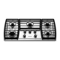 "KitchenAid - Gas Cooktops - KitchenAid 36"" Architect Series II Gas Cooktop, Stainless Steel, KGCK366VSS"