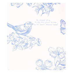 Nature Study Toile - Blueberry - A gorgeous collection of mid-century and craftsman style wallpapers - The Ralph Lauren Family Places.
