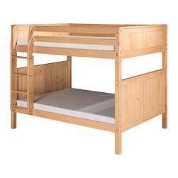 Camaflexi - Camaflexi Panel Headboard Full over Full Bunk Bed - C1621NT - Shop for Bunk Beds from Hayneedle.com! Every kid needs some room to grow which is why this Camaflexi Panel Headboard Full over Full Bunk Bed is perfect for your little one's bedroom. It's sized just right and well-built of eco-friendly solid wood. This stylish bunk bed has a timeless panel design and comes in select kid-safe finish options that work in any bedroom. The upper bunk comes equipped with front and rear safety guard rails. Both beds feature slat roll foundations reinforced with center rail supports so they're comfortable without needing a box spring mattress. The attached ladder is a convenient way to get to the top bunk. Maximize your child's floor space by adding the optional underbed storage drawers or trundle (sold separately). We take your family's safety seriously. That's why all of our bunk beds come with a bunkie board slat pack or metal grid support system. These provide complete mattress support and secure the mattress within the bunk bed frame. Please note: Bunk beds and loft beds are only to be used by children 6 years of age or older. About CamaflexiCamaflexi designs furniture that grows with your children. They offer safety durability and beautiful furniture designs that you and your children will love. Camaflexi is a proud member of the sustainable furnishings council. All Camaflexi beds are made of solid wood and built to stand the test of time. They are all tested and certified to meet all government and industry safety standards. Camaflexi ladders and steps are extra wide to be safer for your children. Camaflexi creates furniture for growing children.