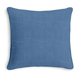 Blue Lightweight Linen Custom Throw Pillow - Black and white photos, Louis XIV chairs, crown molding: classic is always classy. So it is with this long-time decorator's favorite: the Corded Throw Pillow. We love it in this bright blue luxurious lightweight linen blend with characteristic slubs.  Linen cotton blend will resist wrinkles.