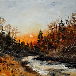 overstockArt.com - Ledent - River Lesse - River Lesse is a canvas print of a colorful and modern Ledent painting of river Lesse in sunset. Originally oil on canvas. Pol Ledent was born in 1952 in Belgium. He came to painting in 1989. He started with watercolor but felt rapidly that oil painting would match his way of being. He is a self-taught painter . Nevertheless he took some drawing lessons in a Belgian academy. After taking part into numerous group exhibitions, some galleries in Belgium proposed to him to exhibit his works. Dinant, Bouillon, Brussels , Paris and Moscow in October 2006.