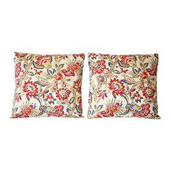 Jacobean Print Pillows, Pair
