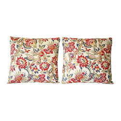 "Acapillow - Jacobean Print Pillows, Pair - Adorn your sofa or bed like royalty. If you prefer to call your house  a ""manor,"" these regal throw pillows are for you. The richness of the scrolling floral design complements dark woods and mother-of-pearl accessories in households laden with antiques, but the pillows are fresh enough to embellish even the modern manor."