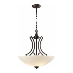Canarm - Somerset Oil Rubbed Bronze Three-Light Chandelier - Somerset is all curves in Oil Rubbed Bronze and flat opal glass  - No Bulb Included   - 1 year - Limited Warranty Canarm - ICH421A03ORB20