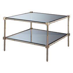 Robert Abbey - Jonathan Adler Meurice Coffee Table, Polished Nickel - This double-tiered coffee table is twice as nice. Use the top as extra serving space for a tray of appetizers at your next dinner party and the bottom for everything from stacks of books to remotes.