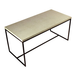 Crump and Kwash - Wilson Coffee Table - This Wilson coffee table consists of a bronzed steel frame and our signature fiber faced concrete.  Both elements are divided by a recessed brass belt.   Dimensions - 38in. wide x 18in. high x 18in. deep.