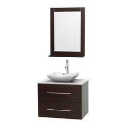 """Wyndham Collection - Centra 30"""" Espresso Single Vanity, White Carrera Marble Top, Carrera Marble Sink - Simplicity and elegance combine in the perfect lines of the Centra vanity by the Wyndham Collection. If cutting-edge contemporary design is your style then the Centra vanity is for you - modern, chic and built to last a lifetime. Available with green glass, pure white man-made stone, ivory marble or white carrera marble counters, with stunning vessel or undermount sink(s) and matching mirror(s). Featuring soft close door hinges, drawer glides, and meticulously finished with brushed chrome hardware. The attention to detail on this beautiful vanity is second to none."""