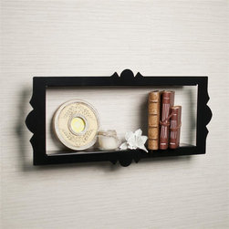 Danya B - Scalloped Frame Rectangular Metal Floating Sh - Scalloped edges and floating effect makes it resemble a frame rather than a wall shelf. Metal construction with glossy black powder coated smooth finish. Screws and simple installation instructions included - keyhole style mounting.. 26.5 in. L x 3 in. W x 12.5 in. H (4.75 lbs)