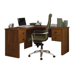 Bestar - Bestar Somerville L-Shaped Desk in Tuscany Brown - Bestar - Home office Desks - 4542063