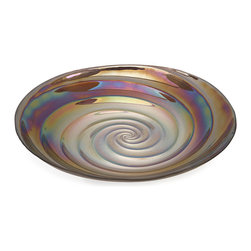 Spiral Large Glass Bowl - Inspired by the ripples of the moody ocean waters and the neutral shades of sandy beaches, the large Spiral glass bowl mimics the inside of a treasured clam shell found on a romantic walk on the beach. Food safe.