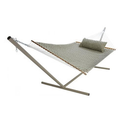 "Pawleys Island - Large SoftWeave Hammock - Flax - The wicker-like weaving pattern of cushiony, cottony-soft, all-weather fabric ribbons is as charming to look at and comfy to recline in as it is tough against the elements.  Hammock stand and pillow sold separately.  Total length 13', bed size 55x82""."