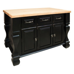 Hardware Resources - Tuscan Jeffrey Alexander Island 52-5/8 x 32-3/8 x 35-1/4  Distressed Black - This 52 5/8 x 32 3/8 x 35 1/4  furniture style island is manufactured using the highest quality furniture grade hardwoods and MDF.  The islands features three working drawers and cabinets on one side and fully adjustable display shelves on the reverse.  Cabinets have one fully adjustable shelf.  The drawers are dovetailed solid hardwood and are mounted on full extension ball bearing slides.  The included decorative hardware can be found in the Jeffrey Alexander Glenmore Collection (618  718).  Coordinating posts are available in our carved wood collection (P13).  Distressed Black finish is applied by hand.  1 3/4 hard maple edge grain butcher block top sold separately  (ISL01 TOP   54 x 34)