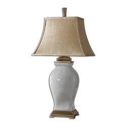 Carolyn Kinder - Carolyn Kinder Rory Blue Transitional Table Lamp X-63762 - Crackled sky blue glaze over porcelain with coffee bronze details. The rectangle bell shade is silkened, golden champagne, crushed textile.