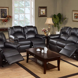 Modern Black Leather Reclining Sofa Loveseat Motion Couch Living Room - Crafted in bold and sleek lines and curves, this motion sofa set features a collection of comfort furnishings in black bonded leather for a luxuriously designed living room. Held together by a solid wood frame, this collection is supported from the inside out.