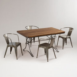Jackson Dining Set - Industrial furniture mixes very well into steampunk decor. This dining set bridges the line perfectly.