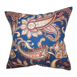 "The Pillow Collection - Galila Floral Pillow Navy Blue 20"" x 20"" - Bring texture and dimension to your living space with this colorful floral toss pillow. It's the perfect complement to your sofa, bed or seat. Embellished with an intricate floral pattern in shades of navy blue, red, pink, yellow and white. This throw pillow looks great when paired with solids and other patterns. Made with a blend of fine quality materials: 45% linen and 55% cotton. Hidden zipper closure for easy cover removal.  Knife edge finish on all four sides.  Reversible pillow with the same fabric on the back side.  Spot cleaning suggested."