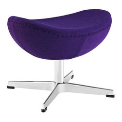 Modway - Glove Wool Ottoman in Purple - Delight in perfect symmetry with the harmonious Glove Ottoman in Wool. Designed with sprawling wing tips and amorphous form, the Glove Ottoman is a study of opposites built from the most exacting design specifications. Layered in upholstered wool over a cozy foam frame, adorn yourself with precision as you embark on a more sophisticated state.