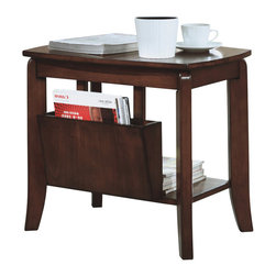 Monarch - Walnut Solid-Top Magazine Table - This traditional magazine table is not only stylish for your living space, but it is also versatile. Specifically, it features a square top with rounded corners to place your coffee cup, a side compartment for magazines, and additional space on a lower shelf for more books. Aside from its various functions, this unit has sleek lines, and a distressed walnut finish for an added touch.
