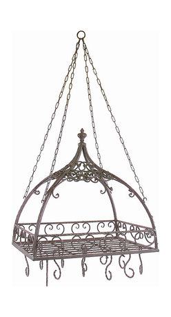 iMax - Domed Pot Rack with Hooks - Traditional wrought iron domed pot rack with Hooks features open metal-work design.