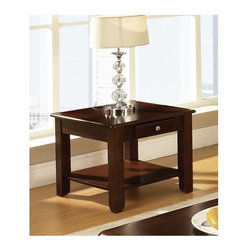 Steve Silver Co. - Nelson End Table (Cherry) - Finish: CherryContemporary style. Corner blocked construction. Tongue and groove joints. Shelf  and drawer for storage. Made from wood. 24 in. W x 22 in. D x 22 in. HBring style and function into your home with the Nelson collection.  This end table features one drawer for storage, and a bottom shelf for magazines all wrapped in cherry finish.