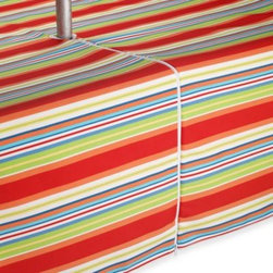 Bardwil Linens - Mystic Stripe Indoor/Outdoor 70-Inch Round Umbrella Tablecloth - This bright, striped tablecloth will be a fun addition to any table. It's spill- and stain-resistant so it works great indoors or outdoors.