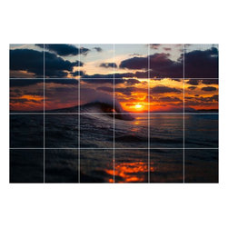 Picture-Tiles, LLC - Sunset Picture Wall Back Splash Tile Mural  32 x 48 - * Sunset Picture Wall Back Splash Tile Mural 1882
