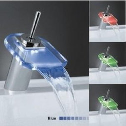 Waterfall LED Bathroom Sink Faucet L-2014 - Features:
