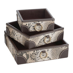 Lazy Susan - Lazy Susan Nested Faux Snake Trays Set of 3 - Final Sale - Sophisticated and modern, the Nested Faux Snake Trays from Lazy Susan are a bold addition to a space. Perfect for desk storage or displaying collectibles, the brown and white snake pattern and brass ringed handles of the square trays add distinct detail. 7.75��_ Sq x 2��_H; Faux leather; Sold as a set of 3