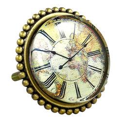 Charleston Knob Company - SET OF 2 Premier Brass & Glass Knobs - Map Clock - Upgrade to Premiere Class
