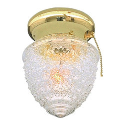 None - Transitional Polished Brass One-Light Flush Sconce with Pull-Chain Switch - This brass light sconce is extremely traditional in style and will look lovely in a classic style home. The reflective crystal pineapple glass shade adds a warm welcome to any guest to your space. This one-light fixture is perfect for many areas.