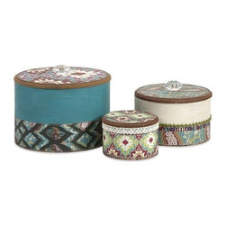"""IMAX - Tillie Round Boxes - Set of 3 - With batik inspired print, jewel tone color and crystal inspired handles, this set of three round boxes make an attractive storage solution for any area! Item Dimensions: (3-4.5-6.5""""h x 4.5-6.5-8""""w x 4.5-6.5-8"""")"""