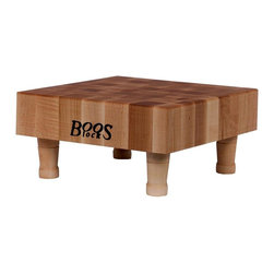 John Boos - Square Chopping Board in Maple Finish - Includes 4 wooden bun feet. Hard maple edge grain construction. Non-reversible cutting board. Maple finish. Top is 3 in. thick. 12 in L x 12 in. W x 6 in. H