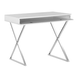 Safavieh - Gordon Desk - So simple, yet elegant and full of charm, the contemporary Gordon desk features x-shaped silver painted finish legs, white lacquered top, and a discreet pull-down compartment with ample room for storing a laptop, notebooks and other writing essentials.