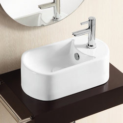 Caracalla - Oval White Ceramic Vessel Bathroom Sink - Oval sink for the bathroom or powder room. Vessel sink with overflow and one hole. Made of ceramic with a white glaze finish. Created by Caracalla in Italy. Oval bathroom sink. Only one hole. Without overflow. Modern design. Vessel sink. Standard drain size of 1.25 inches.